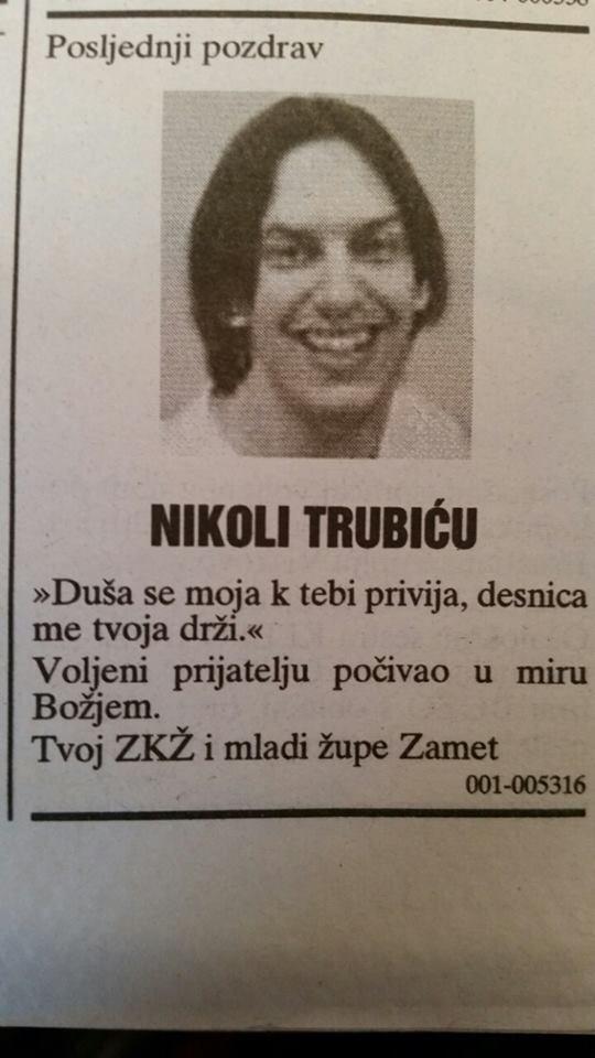 Nikola Trubić - osmrtnica ZKŽ